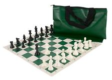 "Standard Chess Set - 20"" Green Vinyl Board - 34 Black & White Pieces - Green Bag"