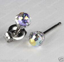 Studex Silver Earrings Tiny Tips Hypoallergenic 4mm Crystal Rainbow Ball Steel