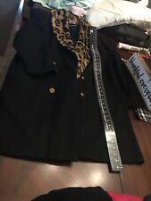 New York Girl-womens 14- Black Real Fur Cheetah Print Coat. Black Womens Wool Ja
