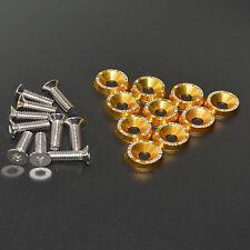 10PC GOLD JDM BILLET ALUMINUM FENDER/BUMPER WASHER/BOLT ENGINE BAY DRESS UP KIT