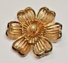 Signed KRAMER Goldtone Faux Pearl FLOWER Shape Pin Brooch