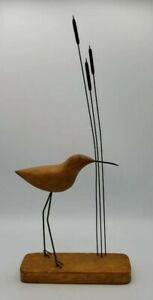 "Walking Shore Bird with Kinetic Cattails MCM  Danish Decor Sculpture Nice 16"""
