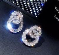Ohrringe Ohrstecker Zirkonia AAA Cubic Glitzer Luxus Edelstahl Silber