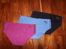 NEW Womens PUMA 3 Pk Black Purple Blue Laser Cut Sport Hipster Underwear XL