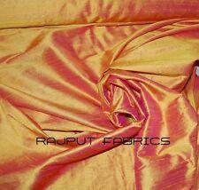 100% Natural Silk Dupioni Fabric Orange Pink Fuchsia Iridescent * BY THE YARD *