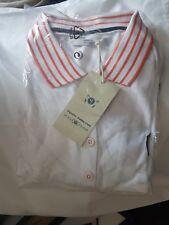 TOM TAILOR Polo Shirt White/orange stripe- Women's Size UK 18~New: RRP £55