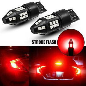 2pcs Red LED 7443 Strobe Blinking Flashing Brake Stop Light Bulb Safety Warning