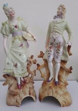 Pair of Antique European Bisque Porcelain Statues / Figurines - Man and Woman