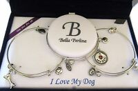 Bella Perlina Set of 3 Bracelets- I Love My Dog bangles silver tone bone dog