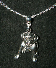 """Silver Pitbull Dog Charm Pendant Chain Necklace 16"""" NEW Gift Buy 3, Get 1 FREE"""