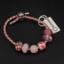 Sterling Silver ZALES PERSONA 6 Charm Bead Leather Bracelet 22.5g RETAIL $265