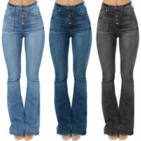 Women High Waist Flare Denim Jeans Stretch Slim Bell Bottom Pants Flare Trousers