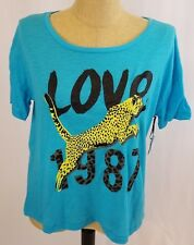 Aeropostale Womens Cheetah Pajama Sleep Tee T-Shirt Top Size Large Blue New