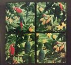 Lot of 4 Wolf Hill Woodworking 'HOT PLATES TROPICAL BIRDS' Handmade 400° Tested