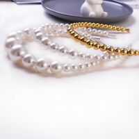 Women Girls Elegant Big Pearl Headband Hairband Hair Hoop Wedding Accessories