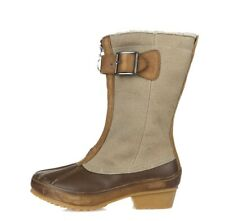 Womens Sorel Brown Leather Canvas Buckle Zip Mid Calf Short Boots Shoes Size 6