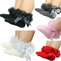 Newborn Baby Girls Kids Princess Bowknot Sock Lace Ruffle Frilly Ankle Socks