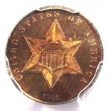 1861 PROOF Silver 3 Cent Coin (3CS) - Certified PCGS Proof UNC Details (PR / PR)