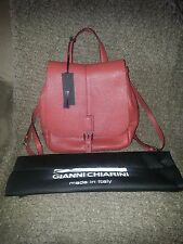 GIANNI CHIARINI-Trapeze Backpack/Knapsack-Rust Red Pebbled Leather-GORGEOUS! NWT