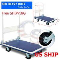 660lbs Platform Cart Dolly Folding Foldable Moving Warehouse Push Hand Truck New