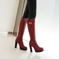 Ladies Motorcycle Riding Knee High Boots Platform Block Heels Buckle Strap Shoes