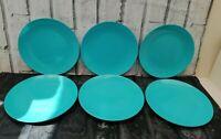 Vintage Melaware Melamine Side Plates x 6 Blue Retro Camper Van Picnics 60s 70s