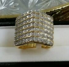 NEW HUGE*7ROW* 14K YELLOW GOLD STERLING SILVER 2 CT CARAT DIAMOND RING$1299 SZ-6