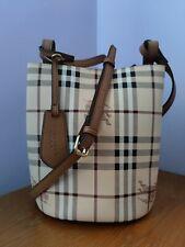 New BURBERRY Leather and Haymarket Check Crossbody Bucket Bag