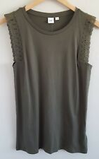 NWT Gap Women's Lace Trim Top Size XS Olive Green Sleeveless Cotton Modal NEW