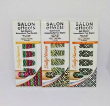 3X Sally Hansen Salon Effects Nail Stickers 3 Patterns 18 Count Ea. Pack New Lot
