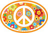 Peace Sign On Hippie Flowers - Small Oval Bumper Sticker / Decal