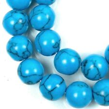 8mm Blue Howlite Turquoise Round Beads 16""