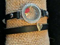 "Origami Owl Medium Locket Wrap Bracelet (6""-7 1/4"") With Heart Slider"