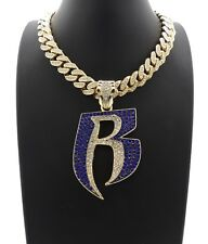NEW ICE BLING MIAMI CUBAN CHAIN WITH RUFF RYDERS PIECE
