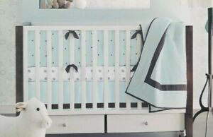 Tiddliwinks Luxe 100% Cotton White, Green & Brown Circle Fitted Crib Sheet NIP