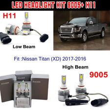 H11+9005 LED Headlight Kit Light Bulb For Nissan Titan (XD) 2017-2016 Hi/Low