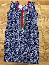 KURTI Kurta Kameez INDIA-NEW-SZ L-COTTON-Red blue FLORAL EMBROIDERY -USA SELLER