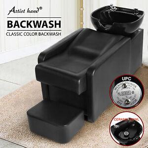 Backwash Unit Chair Ceramic Bowl Shampoo Beauty Salon Barber Station w/Footrest