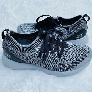 Skechers Women's Size 7 Sneakers Shoes Gray & Black Lace Up Memory Foam Flex