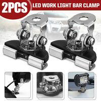 2x Stainless Steel Pillar Mounting Brackets LED Work Light Bar Clamp Offroad ATV