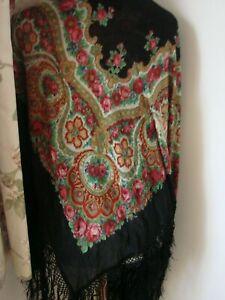 Vintage original 30s huge silky piano shawl fringes pink roses, paisley on black