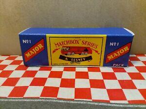 Matchbox Lesney No1 Major Pack Petrol Tanker  EMPTY Repro  Box   NO CAR