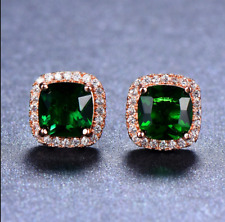 4 ct Halo Cushion Cut Halo Emerald Womens Stud Earrings 14K Rose Gold Over