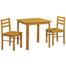 Natural Oak Finish Small Square Dining Table and Chair Set with 2 Seats
