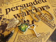Brass Necklace With Key Leaf And Heart Pendant