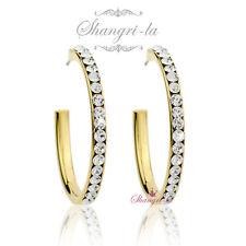 18K Yellow GOLD Filled Large HOOP EARRINGS with Genuine SWAROVSKI DIAMOND S031Y