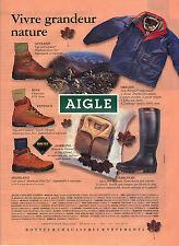PUBLICITE ADVERTISING  1996   AIGLE    bottes caoutchouc  vetements de pluie