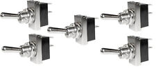 5 x Heavy Duty Chrome Effect Toggle Switches On/Off Kit Classic Car 12v 25a Amp