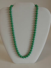 """Vintage Emerald Green Glass Bead Necklace Strand 19"""" Japan Made Silver Box Clasp"""