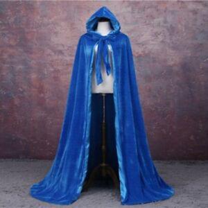 Black Velvet Hooded Cloak Wedding Cape Halloween Robe Coat Bridal Shawl Medieval